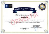 NATO Antalya katılım sertifikası